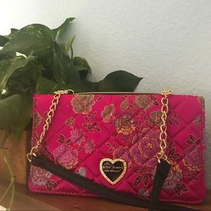 Betsey Johnson Pink Quilted Floral Crossbody Purse